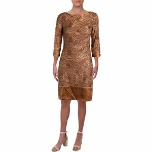 ML MONIQUE LHUILLIER Silk Trim Sequined Dress